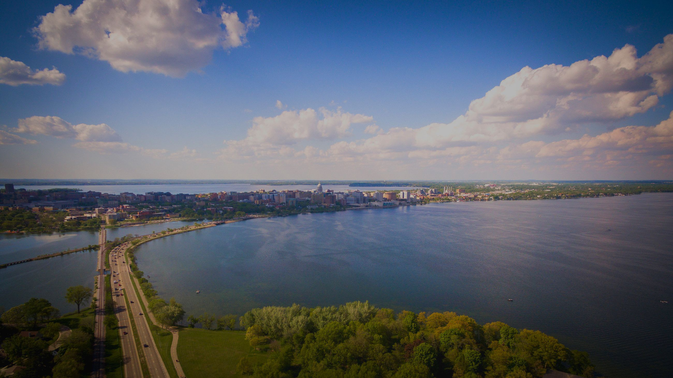 Aerial view of Madison from the edge of Lake Mendota