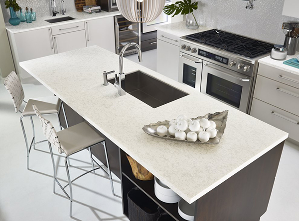Modern kitchen with Dupont Zodiaq quartz countertops sold at Sergenian's